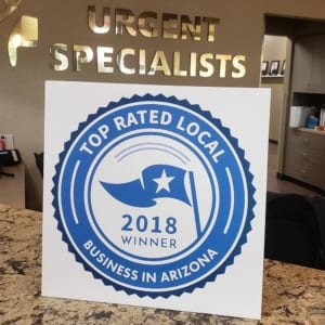 Urgent Specialists Top Rated Local Business in Arizona Award 2018 Winner