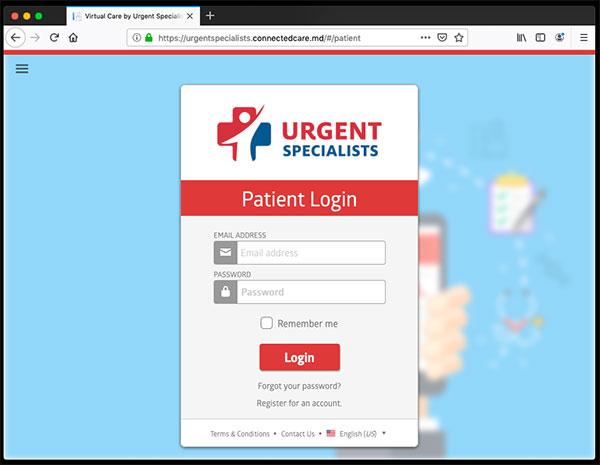Telemedicine Browser Patient Login