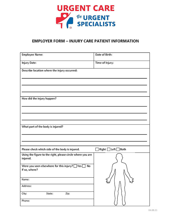 Employer Injury Information Form