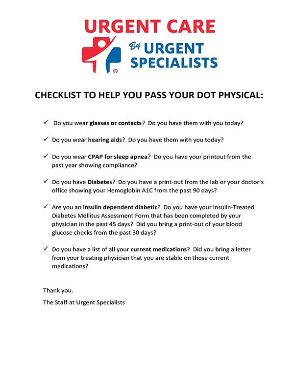 Checklist to Help You Pass Your DOT Physical