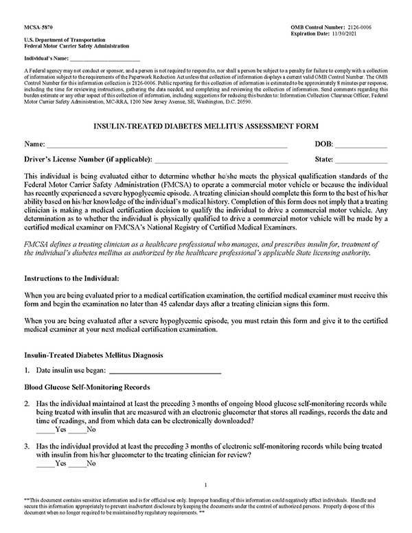 Insulin Treated Form 5870