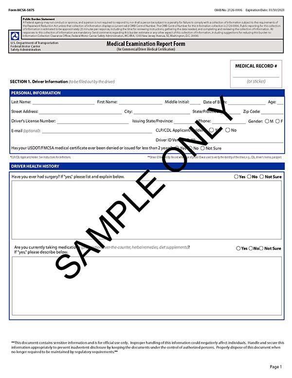 Medical Examination Report Form mcsa 5875 with watermark